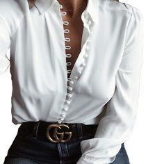 2017 Autumn Women Blouses Long Sleeve Turn Down Collar Button Sexy Tops Casual Blusas Femininas Office Solid White Shirts Looks Street Style, Looks Style, Top Mode, Black And White Blouse, Black White, White Blouse Outfit, White Shirt And Blue Jeans, White Silk Blouse, White Button Down Shirt