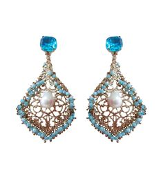 Turquoise & Rose Gold Brass Stone & Pearl Embellished Earrings #indianroots #ethnicwear #jewellery #earrings #pearl #stone #brass #embellished #partywear #occasionwear