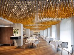 Ametsa with Arzak Instruction (London), Restaurant or Bar in a hotel Ab Rogers Design Hot Shots, Acoustic Baffles, Design Bar Restaurant, Restaurant Lighting, Restaurants Étoilés, Acoustic Design, Bar Design Awards, Hotel Interiors, London Hotels