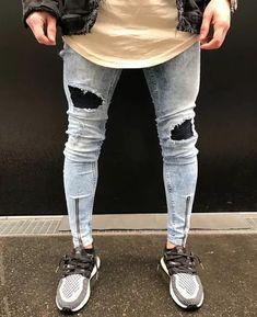 2642823f34 calça jeans super skinny destroyed barra ziper masculina
