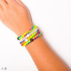 neon rainbow lokai bracelet to support the Make A Wish foundation.