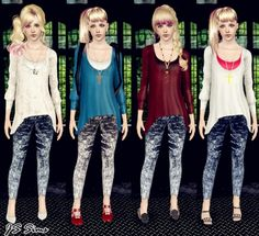 Loose Top with Snow Jeans Outfit at JS Sims 3 - Sims 3 Finds