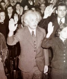 Albert Einstein becoming an American Citizen in He was visiting the United States when Adolf Hitler came to power in 1933 and, being Jewish, did not go back to Germany, where he had been a professor at the Berlin Academy of Sciences. Disney Marvel, World History, World War Ii, Becoming An American Citizen, Georgie, E Mc2, Interesting History, Historical Photos, Wyoming