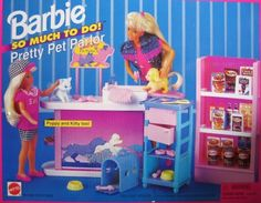 """Barbie So Much To Do! Pretty Pet Parlor Playset (1995 Arcotoys, Mattel) by Arcotoys, Mattel. $144.95. For Ages 3+ Years. See more details & info below in Product Description. Great for any collection or for fun play!. All included items are pretend & Barbie & 11.5"""" doll size; can be used w/other size dolls, as preferred. NO DOLLS included.. Includes: Grooming Counter w/Sink & Shower Head, Cart w/Drawers, Shelving Unit, Pet Puppy & Kitty, Pet Carrier, Grooming Equ..."""