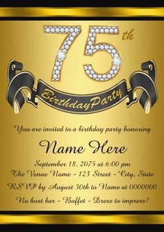 102 Exciting 75th Birthday Invitations Images In 2019