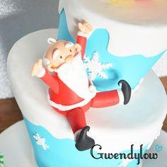 Tarta Navideña para escaparate - Papá Noel, los renos y un muñeco de nieve - Ñam, Ñam!!!