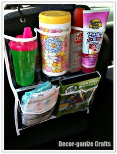 Dollar Store Shoe Organizer as a Car Organizer...great to organize kid stuff or anything.