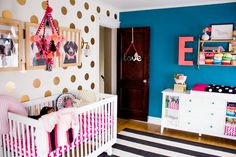 Fun & funky nursery full of easy DIY details. Although I dont know about this for a nursery. Maybe a few years down the road