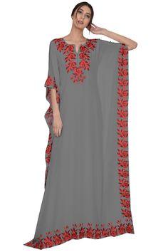 Grey Parsi Floral Embroidered Kaftan Gown Arab Fashion, African Fashion, Gothic Fashion, Kaftan Gown, Kaftan Kurti, Couture Dresses, Fashion Dresses, Kaftan Pattern, Designer Dress For Men