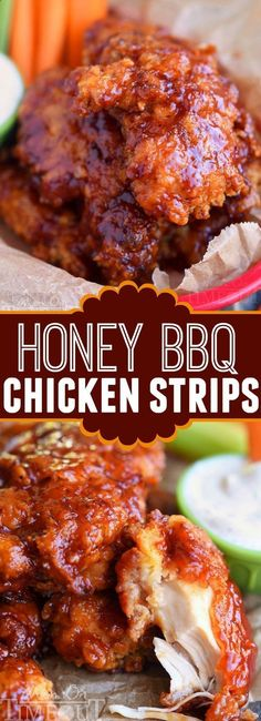 Sticky sweet Honey BBQ Chicken Strips are perfect for dinner or game day! Marinated in buttermilk and perfectly seasoned, these strips are hard to resist!   MomOnTimeout.com