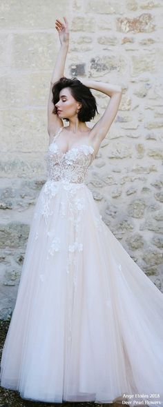 LILIAN lace and tulle wedding dress ❤️ bridaldress #weddinggowns #weddingdresses http://www.deerpearlflowers.com/ange-etoiles-2018-wedding-dresses/
