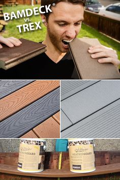 Building a deck? Learn the differences between Cali Bamboo BamDeck and Trex composite decking. Composite decking ideas for a low-maintenance deck // Backyard design ideas Trex Composite Decking, Bamboo Decking, Laying Decking, Deck Building Plans, Deck Plans, Deck Framing, Deck Construction, Decking Material, Deck Builders