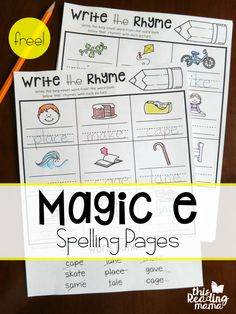 These magic e spelling pages are a great way to integrate rhyming and spelling. When words rhyme, they often share a spelling pattern. This is great for beginning readers and spellers to recognize. That's one of the reasons I created these Magic e Write t Spelling Worksheets, Spelling Patterns, Spelling Activities, Literacy Worksheets, First Grade Phonics, First Grade Reading, Cvce Words, Rhyming Words, Magic E Words
