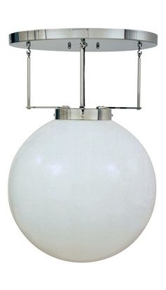 Marianne Brandt Ceiling Light  Marianne Brandt Designed 1926  Produced by Tecnolumen  Nickel-plated metal with opaque glass globe  Accommodates 100 W bulb (not included)  D. 400 mm, approx. 16 in.