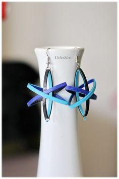 Blauer Planet Ohrhänger Papier mit Rocailles von Liebeabies auf DaWanda.com