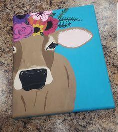 Brown Swiss cow with flower crown. Easy Canvas Art, Small Canvas Art, Easy Canvas Painting, Mini Canvas Art, Diy Painting, Cow Paintings On Canvas, Crown Painting, Arte Van Gogh, Pinturas Disney