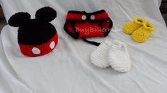Baby Crochet Mickey Mouse Photo Prop / baby hat diaper cover shoes and mitten set / Baby Halloween Costume on Etsy, $38.00