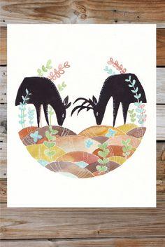 Deer Watercolor Print - 8x10 - Woodland - Rustic - Forest