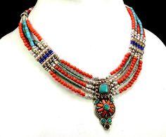 A Vintage Silver Nepali Turquoise,Coral & Lapis Designer Gemstone Beads Necklace #Handmade #Choker