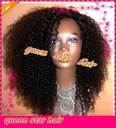 Online Shop 100% virgin brazilian human hair kinky curly u part wig with straps and combs for black women |Aliexpress Mobile