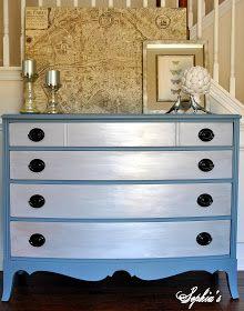 Sophia's: Slate Blue Metallic Dresser Makeover