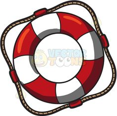 A life buoy :  A life preserver shaped like a donut used in ships and boats colored in red and white with a rope around the outer rim forming a square  The post A life buoy appeared first on VectorToons.com.