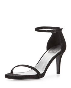 Avail Mich Ave - Naked+Low-Heel+Sandal,+Black+by+Stuart+Weitzman+at+Neiman+Marcus.