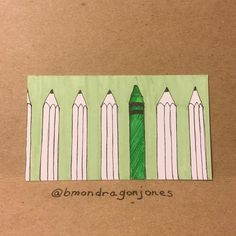 One of these things is not like the others... #pencil #crayon #tinycanvas #businesscardart #bicmarkit #illustration #markers