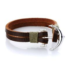 Handmade Raw Made Genuine Real Leather with Silver Plated Anchor Charm as Clasps, Gift for Him or for Her, Unisex *** Want to know more, click on the image.