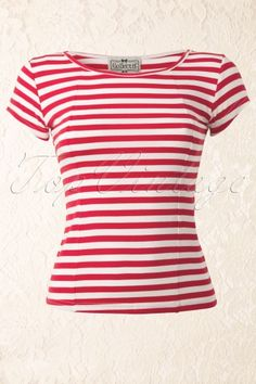 Collectif Clothing - Alice T-Shirt in Red https://topvintage.nl/nl/vintage-retro/alice-t-shirt-in-red-white-stripes