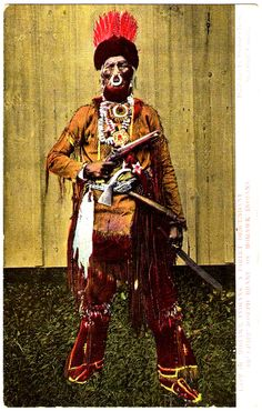 IROQUOIS Mohawk Chief, direct descendant of Chief Joseph Brant, late 1800s. Postcard published by Stedman Bros., Brantford, Canada, edited c.1907-1915
