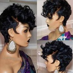Short Human Hair Wigs, Human Wigs, Short Hair Cuts, Front Hair Styles, Curly Hair Styles, Natural Hair Styles, Wig Styles, Short Bob Hairstyles, Wig Hairstyles