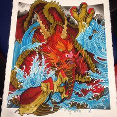 """23/30"""" dragon I finished up yesterday. @heroesandvillainstattoo @japanesetattoo…"""