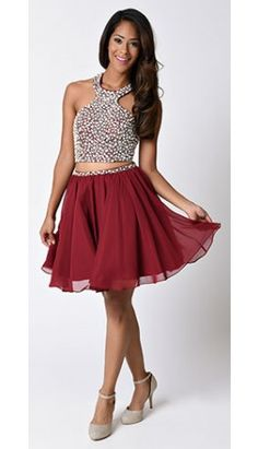 Burgundy Red Chiffon Embellished Two Piece Short Dress for Homecoming 2016
