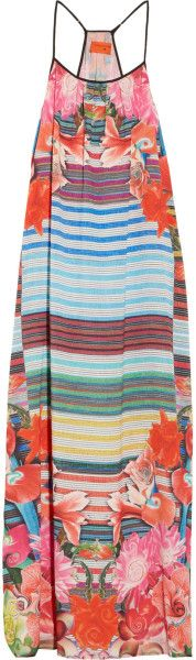 Clover  Canyon  Printed Crepe De Chine Maxi Dress @Lyst