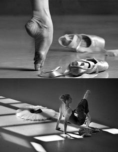 don't try this at home! However, it's a great example of how the foot should look IN the pointe shoe. Arch is forward and on top of the toes. Ankle is aligned above the toes. The toes are NOT crunched or crinkled under.    Good work!