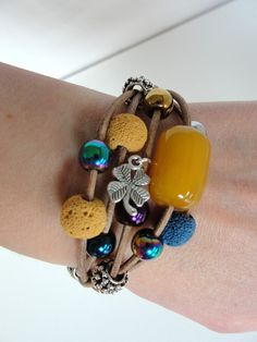 Leather Bracelet with beads & spacers from Jewelry&Hand Made by DaWanda.com