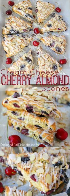 Stuffed with fresh cherries, sliced almonds, and drizzled with a cream cheese glaze, these flaky scones are fantastic with your morning coffee! Perfect for breakfast, this super-easy scone recipe use(Cream Cheese Butter Bars) Just Desserts, Dessert Recipes, Breakfast Scones, Breakfast Healthy, Cherry Recipes, Recipes With Fresh Cherries, Cream Cheese Glaze, Sliced Almonds, Sweet Bread