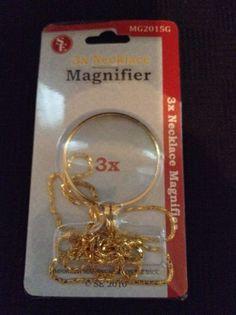 """NIP SE Necklace Magnifier Pendant 1.75"""" Glass Lens Dia 36"""" Chain Crafts Read #SE"""
