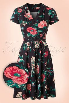 King Louie Lucille Brown Floral Dress