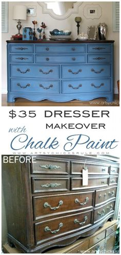 Chalk Paint Re-do!! LOVE This color!! artsychicksrule.com #chalkpaint #aubussonblue #dressermakeover