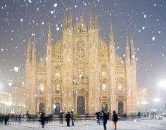 Winter Wonderland in Milan. Duomo Cathedral in Milan, Italy.