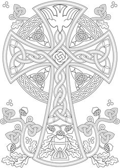 Willkommen bei Dover Publications – Coloring pages - Malvorlagen Mandala Cross Coloring Page, Printable Adult Coloring Pages, Mandala Coloring Pages, Coloring Pages To Print, Coloring Book Pages, Fall Coloring, Celtic Patterns, Celtic Designs, Cross Patterns