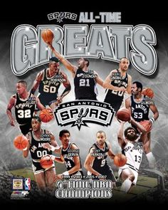 San Antonio Spurs All-Time Greats (9 Legends, 4 Championships) Poster Print - Photofile