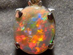 Extreme Red Harlequin Solid Opal & Diamond Pendant 14k Gold