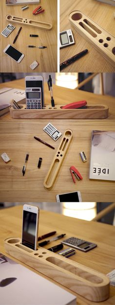 A Wooden Office Desk Organizer Storage Smart Phone Mobile Phone Dock Stand Paper Clip Holder Collection Storage Box Organizer Remote control holder Organizer Memo Holder - Phone Stand / Pencil Holder / Business Card Holder