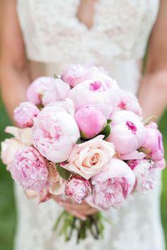 Pink bridal bouquet, pink peonies, roses, plush wedding flowers // Shane Hawkins Photography