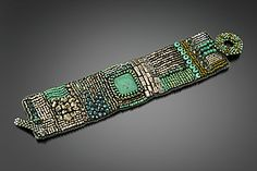 "Silver and Turquoise Embroidered Cuff by Julie Powell (Beaded Bracelet) (0.25"" x 1.75"")"