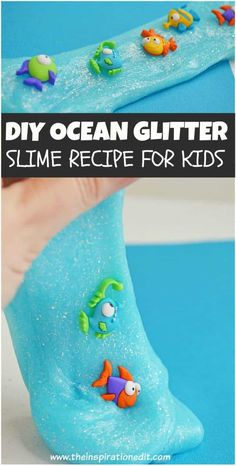 Making your ocean-themed slime is a cool idea that the kids will surely love. Check out this easy DIY Ocean Slime recipe we made just for you. You and your kids will have a great time making this amazing sensory activity. #slime #DIY #glueslime #ocean #summercrafts #funcraftsforkids #easycrafts #sensoryplay Fish Activities, Craft Activities For Kids, Preschool Crafts, Crafts For Kids, Preschool Kindergarten, Craft Ideas, Ocean Kids Crafts, Vocabulary Activities, Summer Crafts