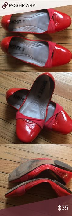 Patent red leather ballet flats from DKNY Ballet flats in red patent leather with knit fabric detail at toe. In good condition but too small for me. Size 10. Fabric is dirty near the bottom of the shoe- not noticeable when wearing. Dkny Shoes Flats & Loafers